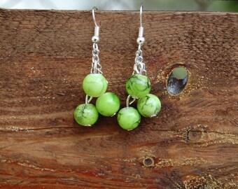 Earrings green marbled beads