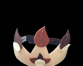 Kids costume accessory - beige felt Crown leaves off-white and chocolate - King - Queen - Prince - Princess