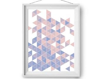 Pink Purple Blue Art, Geometric Print, Abstract Art, Triangles Print, Modern Print, Scandinavian Art, Wall Decor, 24x36 inches, Print Avenue