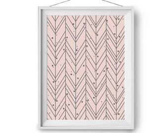 Pink Wall Art, Nursery Print, Blush Pattern Art, Boho Print, Abstract Art, Chevron Geometric Print, Wall Decor, 40x50cm, 24x36, Print Avenue