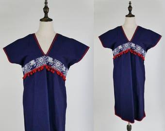 Tribal Dress Elephant Floral Print V Neck Sleeveless Navy Women Dress Size S-M