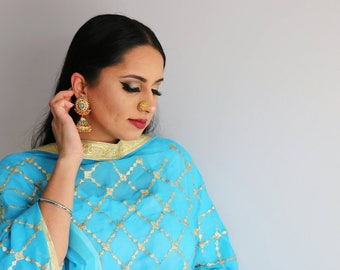 Bright Blue Chinnon Dupatta Veil with Turquoise Chumki Jhumki Gold Indian Earrings Mini Nose Pin Flower Nose Pin Nath Indian Jewelry Set