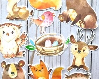 Woodland Creatures // Die Cuts TN Planner Travelers Notebook Ephemera Decor