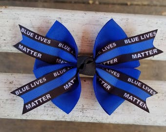 Blue Lives Matter Police Hair Bow (4 inch)