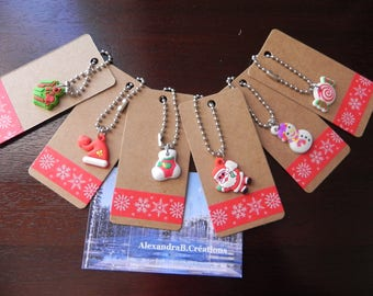 6 labels kraft 4 x 8 cm decorated their Christmas charms
