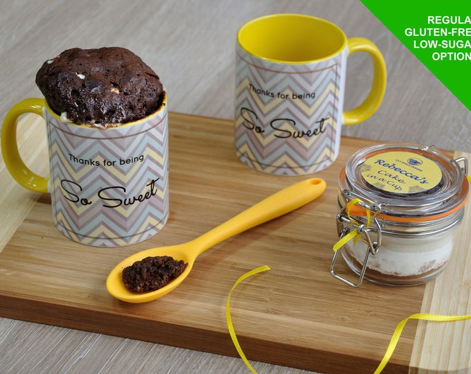 Sweet tooth, sweet thankyou gift, say thankyou, baking thankyou gift, baking gift thanks, chocolate cake kit, mug cake kit, cake in a cup,