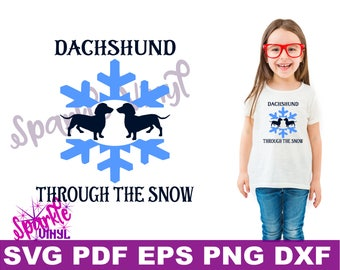 SVG Funny Christmas Winter Dachshund through the snow carol shirt svg files for cricut or silhouette, funny dog dachshund printable