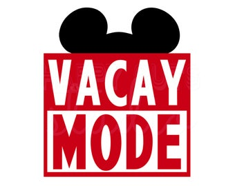 Vacay Mode with Mickey Mouse or Minnie Hat  Disneyland Disney World  Family Husband Dad Grandpa Disney Iron On for Shirt 106