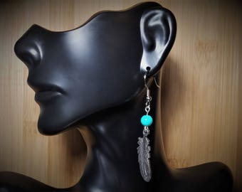 Antique Feather Dangle Earrings with Round Turquoise Colored Bead, Gifts for Her,  Gifts for Mom.