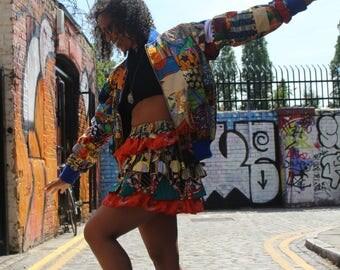 African Bomber Jacket - Patchwork Jacket - Festival Jacket - Wax Print Bomber - African Clothing - Festival Clothing - Festival Jacket