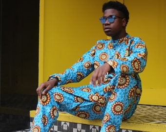 Mens African Fashion - Festival Fashion - African Print Suit - Festival Trousers - festival Shirt - Patterned Suit - Festival Clothing