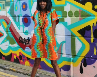 Shift Dress - Patterned Dress - Festival Dress - Colourful Shift Dress - Ankara Dress - African Dress -Summer Outfit - African Fashion