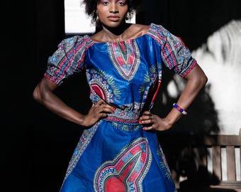Dashiki Wrap Skirt A-line Festival Clothing African Wrap Skirt kirt in Wax Festival Skirt African Skirt African Print Skirt African Top