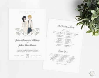 Illustrated Couple, Personalized Wedding Program, Boho Wedding Program, Wedding Program Fan, Order of Service, Diy Wedding Fan #ITP