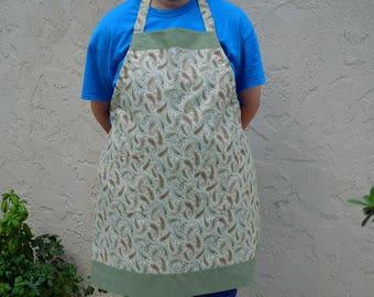 Size Medium apron w/2 potholders, paisley apron, kitchen apron, full apron