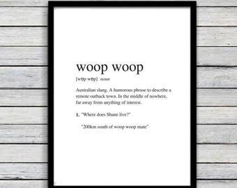 Woop Woop | Art Print | Australian Humour | Wall Art | A4 Unframed - Free Shipping within Australia