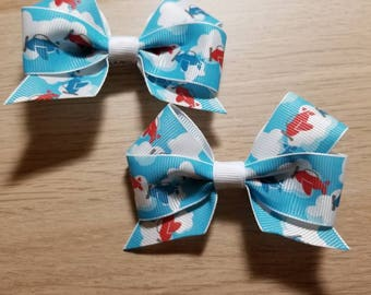 "3"" Airplane Hair Bow Pair"