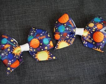 Planet, Space Hair Bow/Clip Set - Sun, Mercury, Venus, Earth, Mars, Jupiter, Saturn, Uranus, Neptune, Pluto