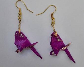Chickadee origami earrings glitter