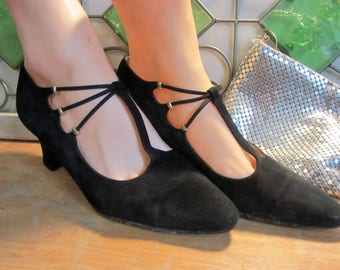 """Women's Vintage Proxy Black Suede T-Strap Gold Bead Pumps Shoes 7.5M Leather Soles Made in Spain """"Free Shipping"""""""