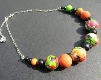 Clay polymere.collier beads necklace. Choker. Necklace fantaisie.pendentif.