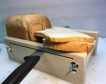 "Horizontal Adjustable Bread Slicing Guide Made of Solid 3/4"" Poplar Lumber with a Food Grade Protective Finish Applied"