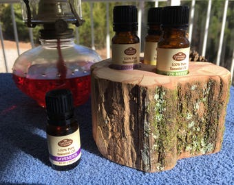 """Essential Oil Holder Display Stand .... """"Truly From The Woods"""" .... (3 Bottles)"""