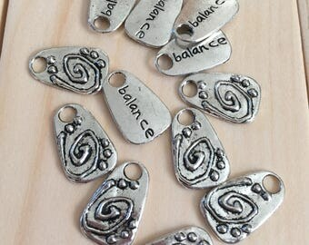 12 silver double sided balance charms