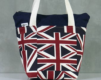 10% OFF [ Orig. 19.99 ]  Union Jack Lunch bag, Waterproof tote, Canvas Lunch bag, Reusable Lunch bag, Handmade bag, Tote, Gift
