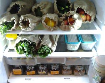 2Produce Bag Sets - Reusable Produce Bags - Produce Veggie Bag - Grocery Bag - Eco Friendly Produce Bag - Vegan Kitchen - Fabric Produce Bag