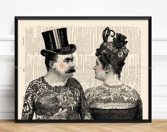 Tattoo Wedding Favor, Brother Poster Gift, Victorian Tattoo Art, Print Set Gift, Tatoo Art Wedding, Couples Gift Poster, Tattoo Salon  268