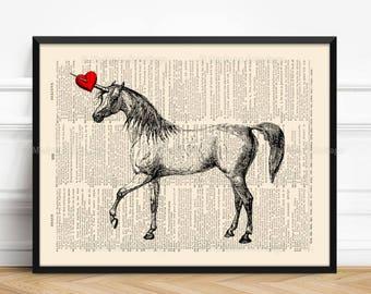 Unicorn Skeleton, Unicorn Wall Decor, Mythical Animal, 5th Anniversary Gift, Neat Bridesmaid Gift, Children Room, Little Girl Art Gift,  532