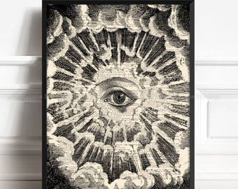 Eye Of Providence, Geeky Boy Gift, Illuminati, Sister Brother Gift, Mystery Poster, Freemasonry, Literary Gift Poster, Cute Office Decor 120