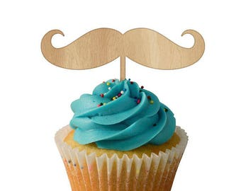 Moustache Cupcake Toppers 6pk