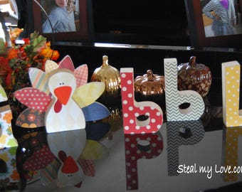 Gobble Unfinished Wooden Letters with Turkey Insert Included - DIY Wooden Thanksgiving Decoration