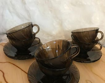SALE Retro Vereco Set of 6 Smoke Coffee/Tea Cups & Saucers / Made in France