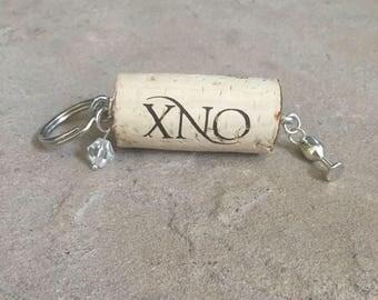 wine cork keychain, gold glitter, wine cork keychain charm, gift
