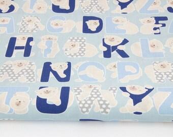 100% cotton fabric printed 50 x 160 cm, NAVY blue Alphabet