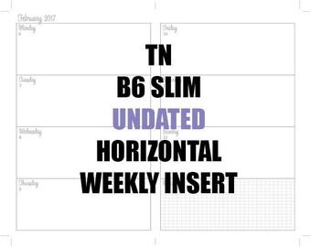 TN B6 Slim HORIZONTAL UNDATED 6 Mo. Insert: MO2P, Horizontal WO2P with times, Habit Tracker, Shopping Tracker Goals Achievements page