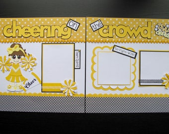 Cheerleader - FREE SHIPPING -  2,  12 x 12 Pre-Made Die Cut Paper Piecing Scrapbook Pages Girls Sports