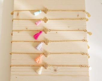 Bracelet fin, bracelet cactus et pompon, bracelet boho, couleur à choix
