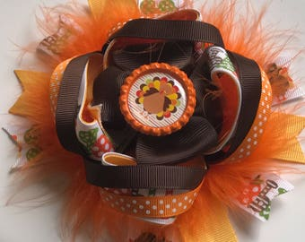 Thanksgiving Boutique Bow, Thanksgiving Baby Headbands, Baby Fall Headbands, Fall Baby Headbands, Thanksgiving Bows