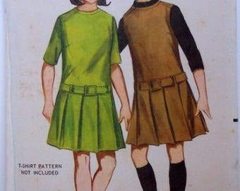 Vintage Butterick Girls sz 12 pleated skirt dress pattern, 3414