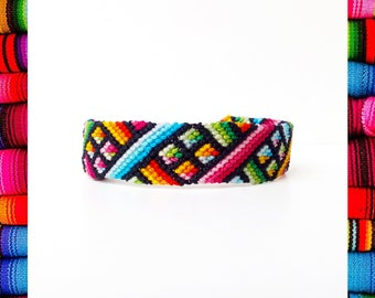 Guatemalan Woven Friendship Bracelet Mexican handmade flower rainbow colorful thread waterproof fabric tribal aztec ethnic -Q'enqo Bracelets