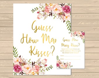Gold Boho Floral Guess How Many Kisses Game, Pink Floral Printable Hershey Kisses Game, Bridal Shower Candy Guessing Game, Download 110-G