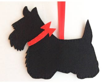 Scottie dog radley style felt decoration ornament