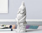 Nano da giardino low poly geometrico scultura cemento NINO Bianco