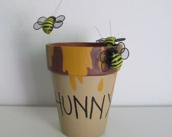 """Hand-painted Winnie the Pooh Inspired """"HUNNY"""" Pot featuring Bumble Bees"""