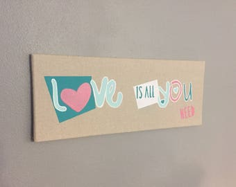 "PAINTING painting on canvas linen pink and green heart ""Love is all you need"""
