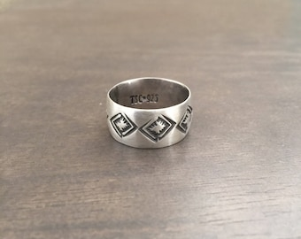 Handstamped wide band ring size 9